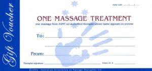 Massage Therapy Gift Vouchers can be purchased from the clinic